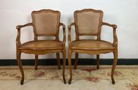Vintage French Pair of Bergère Cane Dining Carver Chairs Louis Style (5 of 10)