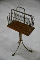 Edwardian Oak & Brass Revolving Newspaper Stand