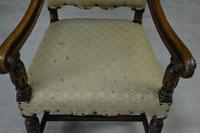 Oak Open Arm Carolean Style Armchair c.1930 (3 of 12)