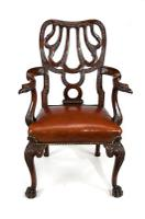 Fine Quality 19thC Leather Upholstered Desk Chair after a Design by Giles Grendey (9 of 18)