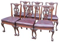 Superb Set of Irish Victorian Mahogany Chippendale Dining Chairs