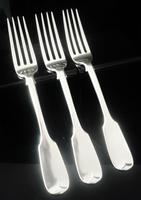 3 Antique Silver Dessert Forks, London 1845, William Eaton
