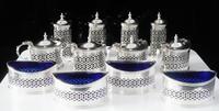 12 Piece Silver Condiment Set 'Cased', Chester 1922, Jay, Richard Attenborough Co Ltd