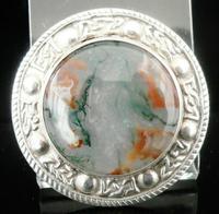 Scottish Silver Moss Agate Brooch by Robert Allison, Edinburgh 1964