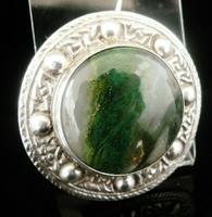 Scottish Silver Moss Agate Brooch, Glasgow 1954, Robert Allison