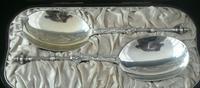 Pair of Cased Antique Silver Spoons 'Cherubs' London 1883, Edward Hutton