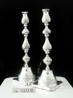 Impressive Large Silver Candlesticks, London 1922, Rosenzweig, Taitelbaum & Co (12 of 12)