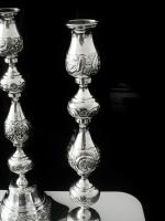 Impressive Large Silver Candlesticks, London 1922, Rosenzweig, Taitelbaum & Co (8 of 12)