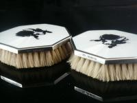 Pair of Octagonal Silver Guilloche Enamel Clothes Brushes, London 1927 (5 of 9)