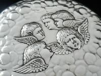 Large Silver Hand Mirror, Reynolds Angels Cherubs, Chester 1923, James Deakin (4 of 12)