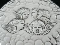 Large Silver Hand Mirror, Reynolds Angels Cherubs, Chester 1923, James Deakin (5 of 12)