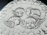 Large Silver Hand Mirror, Reynolds Angels Cherubs, Chester 1923, James Deakin (6 of 12)
