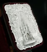 Nathaniel Mills Antique Silver Card Case (Cased) Sir Walter Scott Monument 1844