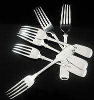 6 Heavy Silver Dinner Table Forks, London 1837 / 1838, William Eaton