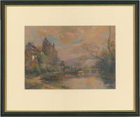 Maurice Lévis - French Watercolour, Chateau On a Riverside