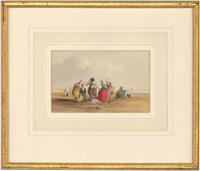 William Henry Harriott - Framed Watercolour, Fisherfolk On Beach