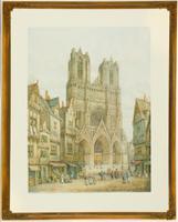 Henry Thomas Schaffer - Exquisite Watercolour, Rheims Cathedral