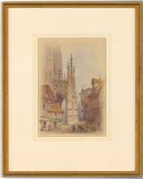 Edwin Thomas Dolby - Fine 1894 Watercolour, Rouen Street Scene