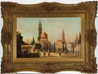 Karl Kaufmann - Fine 19th Century Oil, North African Street Scene