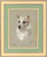 Dorothy S. Hallett - Early 20th Century Pastel, Portrait of a Terrier, 'Tiny'