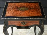 Fine Quality 19th Century French Ebonised & Amboyna Serpentine Sewing Table (4 of 21)