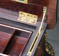 Fine Quality 19th Century French Ebonised & Amboyna Serpentine Sewing Table (9 of 21)