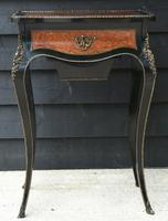 Fine Quality 19th Century French Ebonised & Amboyna Serpentine Sewing Table (3 of 21)