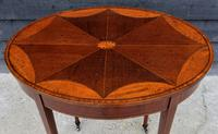 Fine Quality Edwardian Mahogany & Satinwood Inlaid Oval Occasional Table / Lamp Table / Wine Table c.1910 (2 of 6)