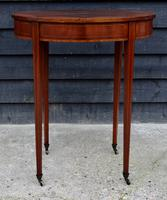 Fine Quality Edwardian Mahogany & Satinwood Inlaid Oval Occasional Table / Lamp Table / Wine Table c.1910 (3 of 6)