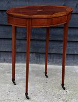 Fine Quality Edwardian Mahogany & Satinwood Inlaid Oval Occasional Table / Lamp Table / Wine Table c.1910 (4 of 6)