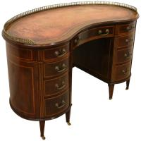 Sheraton Style Kidney Shaped Mahogany Inlaid Desk
