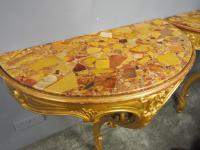 Pair of Marble Top & Gilded Console Tables (3 of 8)