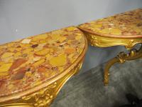 Pair of Marble Top & Gilded Console Tables (2 of 8)