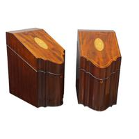 Pair of George III Mahogany Inlaid Knife Boxes