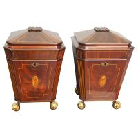Pair of George III Mahogany & Inlaid Cutlery Boxes