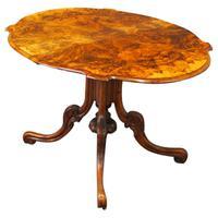 Large Victorian Burr Walnut Sutherland Tea Table