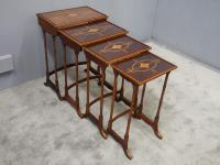 Sheraton Style Inlaid Mahogany Nest of Tables c.1900 (5 of 14)