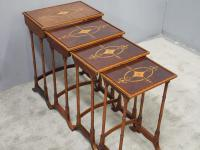 Sheraton Style Inlaid Mahogany Nest of Tables c.1900 (6 of 14)