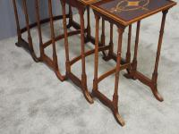 Sheraton Style Inlaid Mahogany Nest of Tables c.1900 (7 of 14)