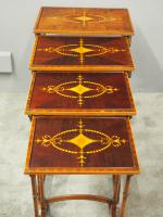 Sheraton Style Inlaid Mahogany Nest of Tables c.1900 (8 of 14)