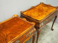 Matched Pair of Dutch Burr Walnut Silver Tables (6 of 14)