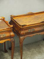 Matched Pair of Dutch Burr Walnut Silver Tables (4 of 14)