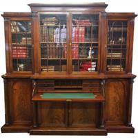 William IV Mahogany Breakfront Secretaire Bookcase