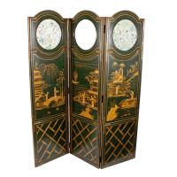 Lacquered Chinoiserie Three Fold Screen c.1920