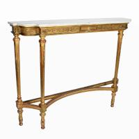 Tall Gilt Wood Marble Top Console Table