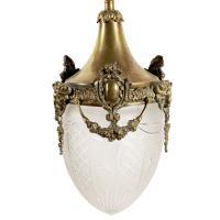 Opaque Glass & Brass Hall Lantern (2 of 8)