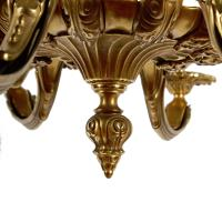 Gilt Brass 12 Branch Chandelier c.1920 (6 of 8)