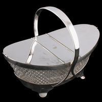 Regency Style Crystal & Silver Plate Biscuiteer