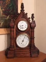 Gothic Oak Cased Mantel Clock & Barometer
