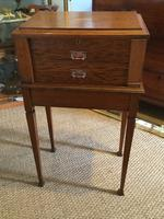 Oak Vanity Table / Work Box on Stand